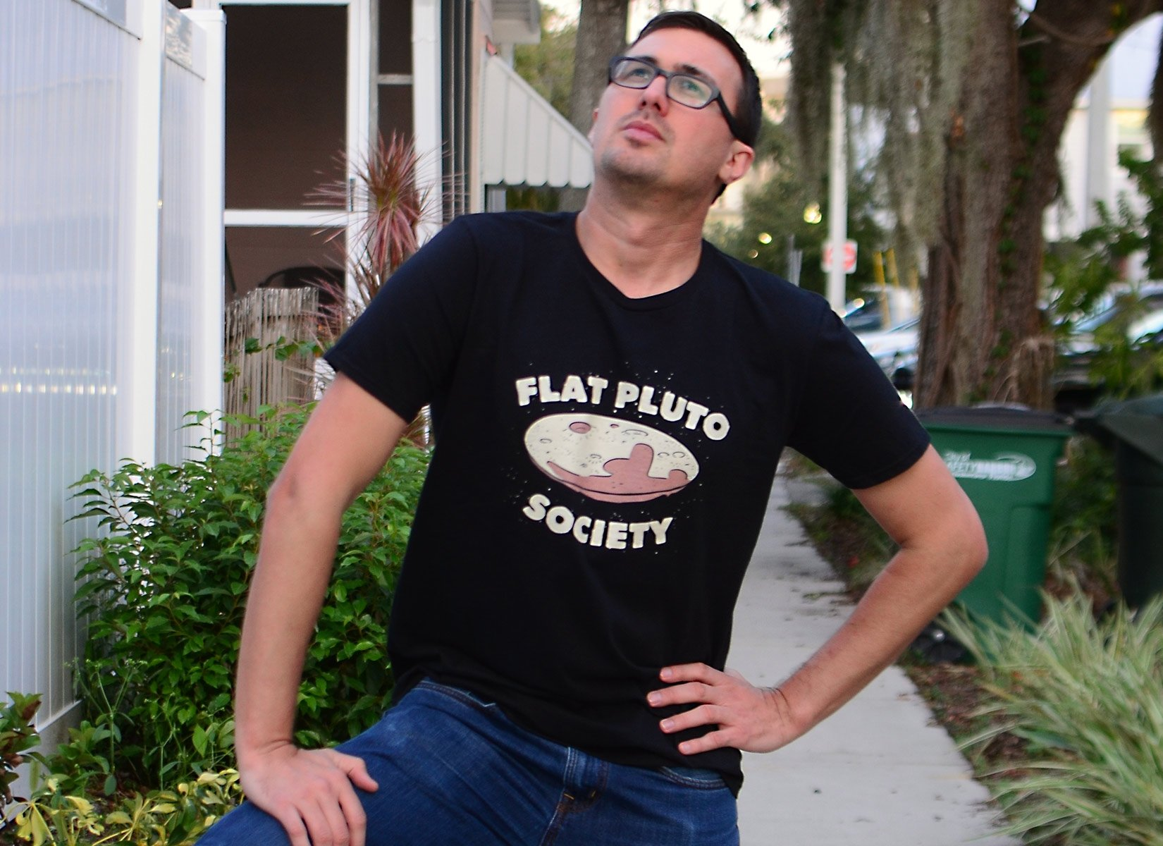 Flat Pluto Society on Mens T-Shirt