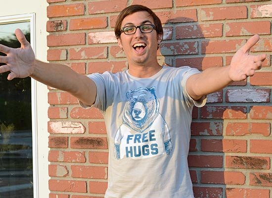Free Hugs Bear on Mens T-Shirt