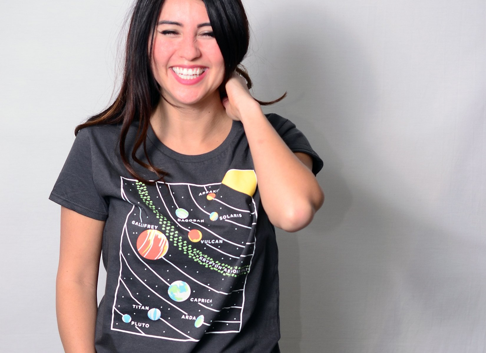 9 Planets on Womens T-Shirt