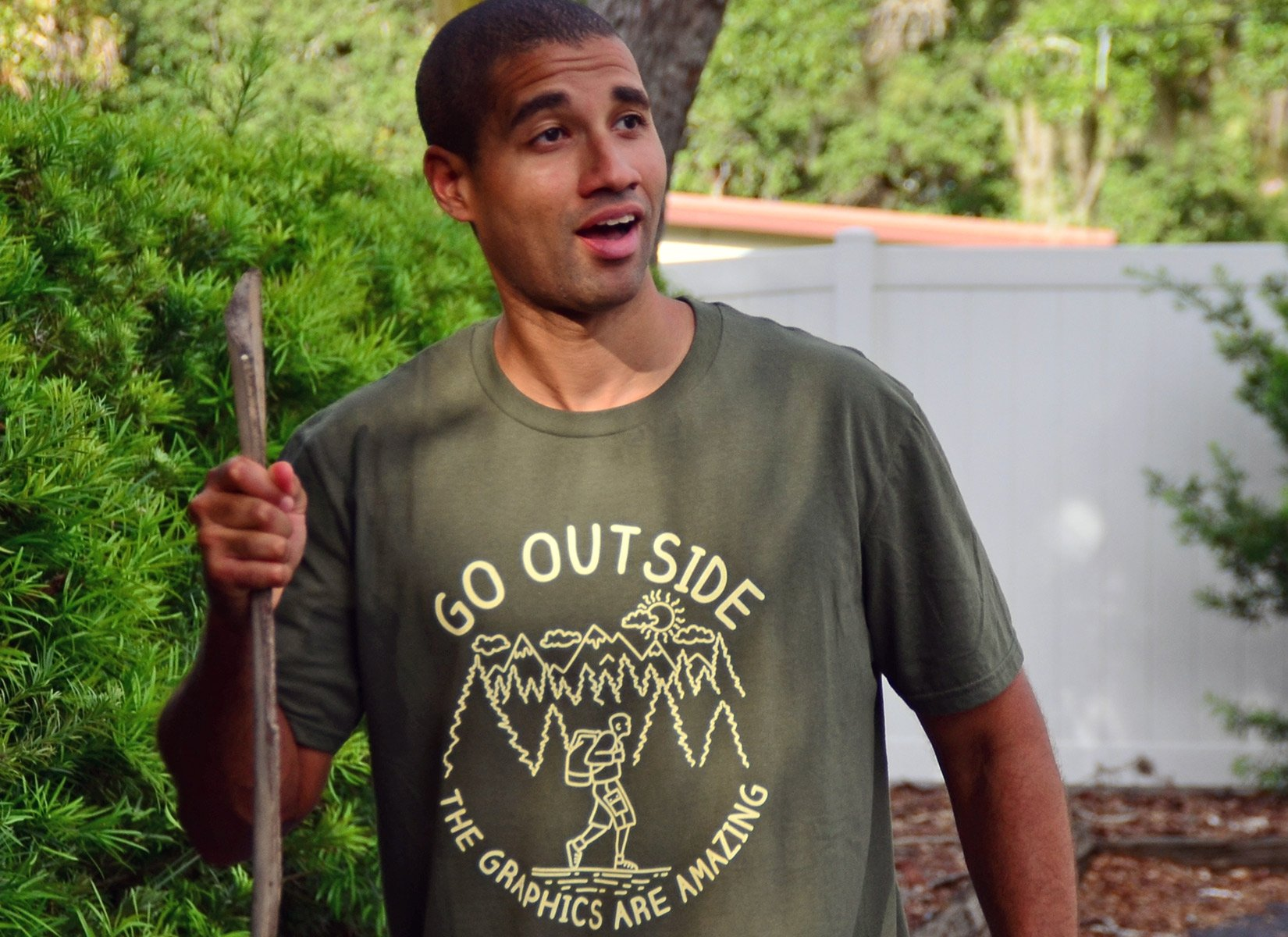 Go Outside The Graphics Are Amazing on Mens T-Shirt