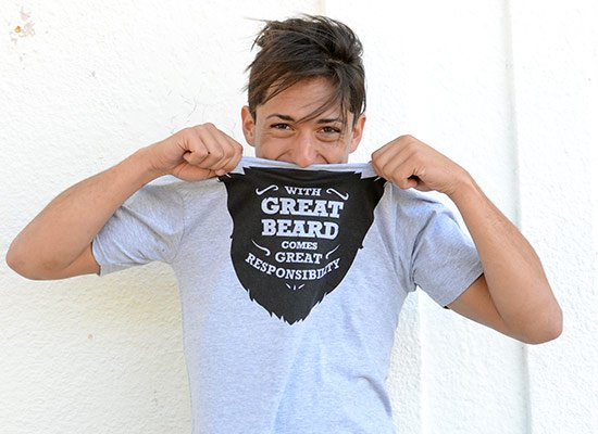 With Great Beard Comes Great Responsibility on Mens T-Shirt