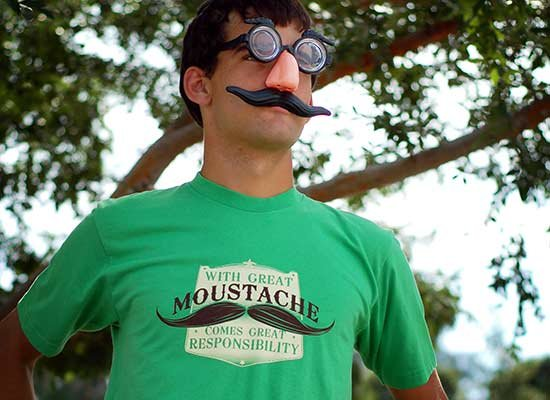 With Great Moustache on Mens T-Shirt