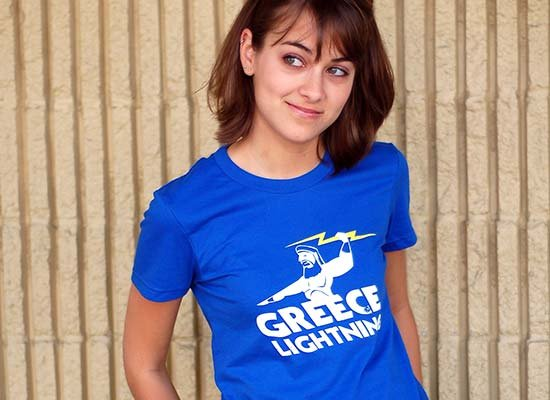 Greece Lightning on Juniors T-Shirt