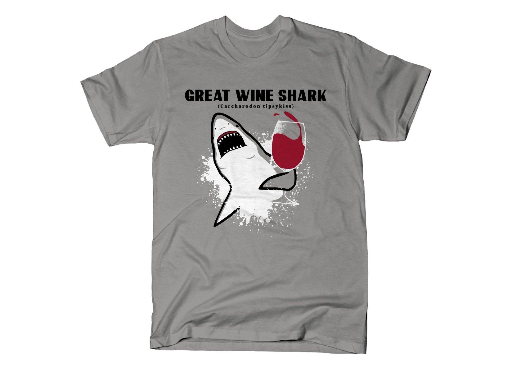 Great Wine Shark on Mens T-Shirt