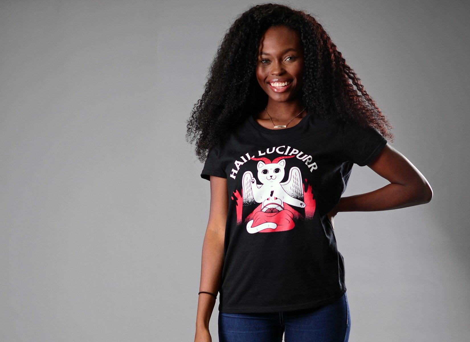 Hail Lucipurr on Womens T-Shirt