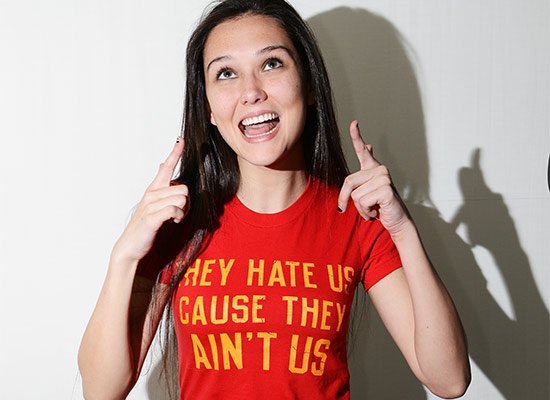 They Hate Us Cause They Ain't Us on Juniors T-Shirt