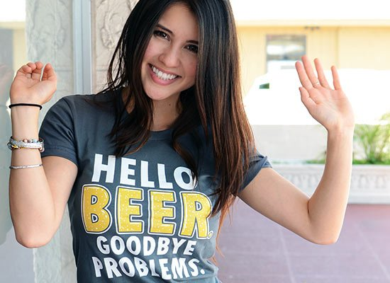 Hello Beer. Goodbye Problems. on Juniors T-Shirt