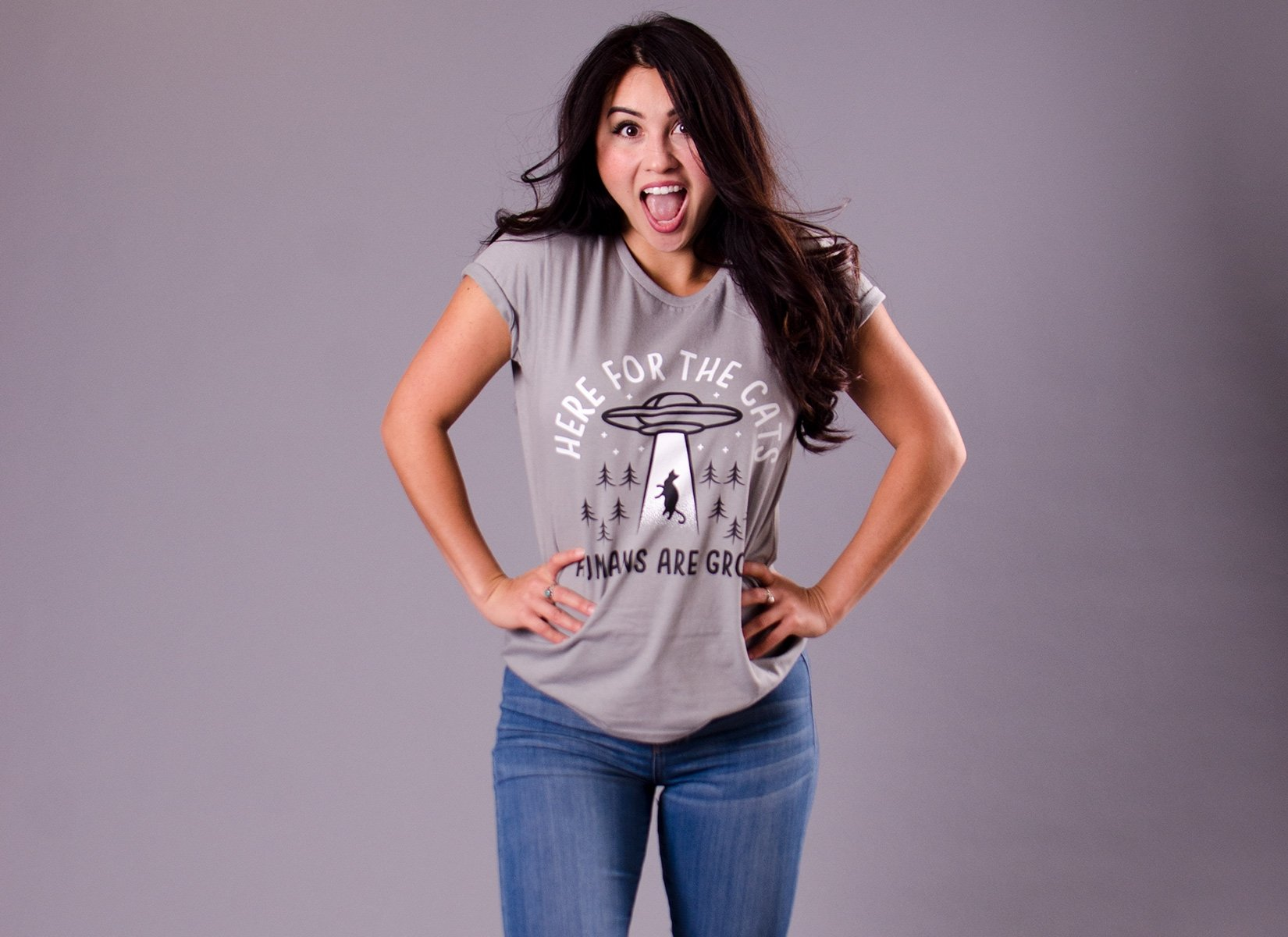 Here For The Cats, Humans Are Gross on Womens T-Shirt