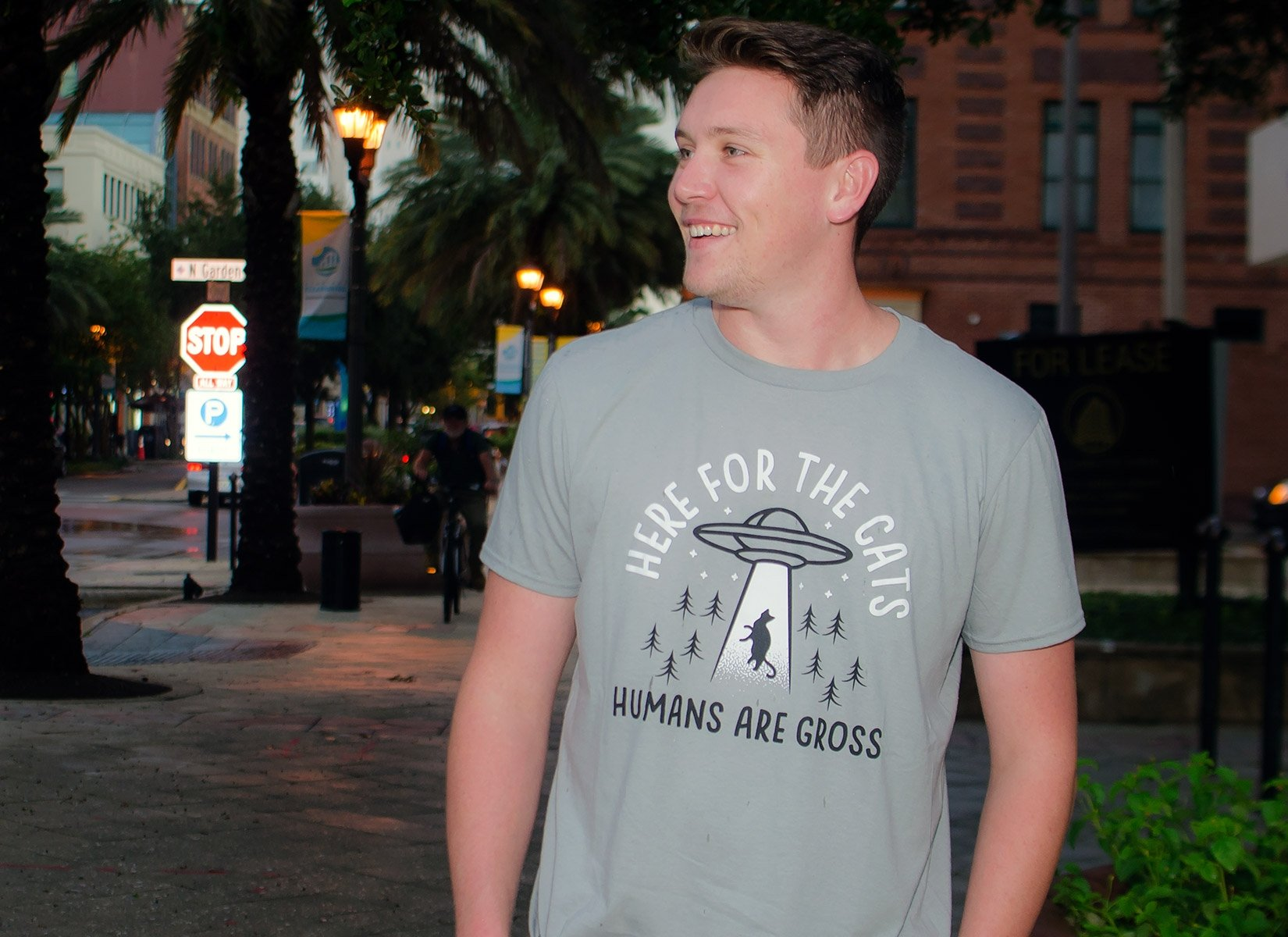 Here For The Cats, Humans Are Gross on Mens T-Shirt