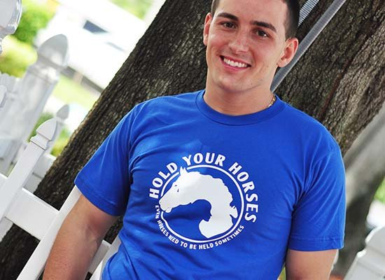 Hold Your Horses on Mens T-Shirt