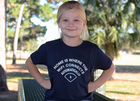 Home Is Where The WiFI Connects Automatically on Kids T-Shirt
