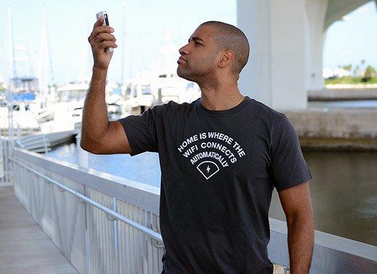Home Is Where The WiFI Connects Automatically on Mens T-Shirt