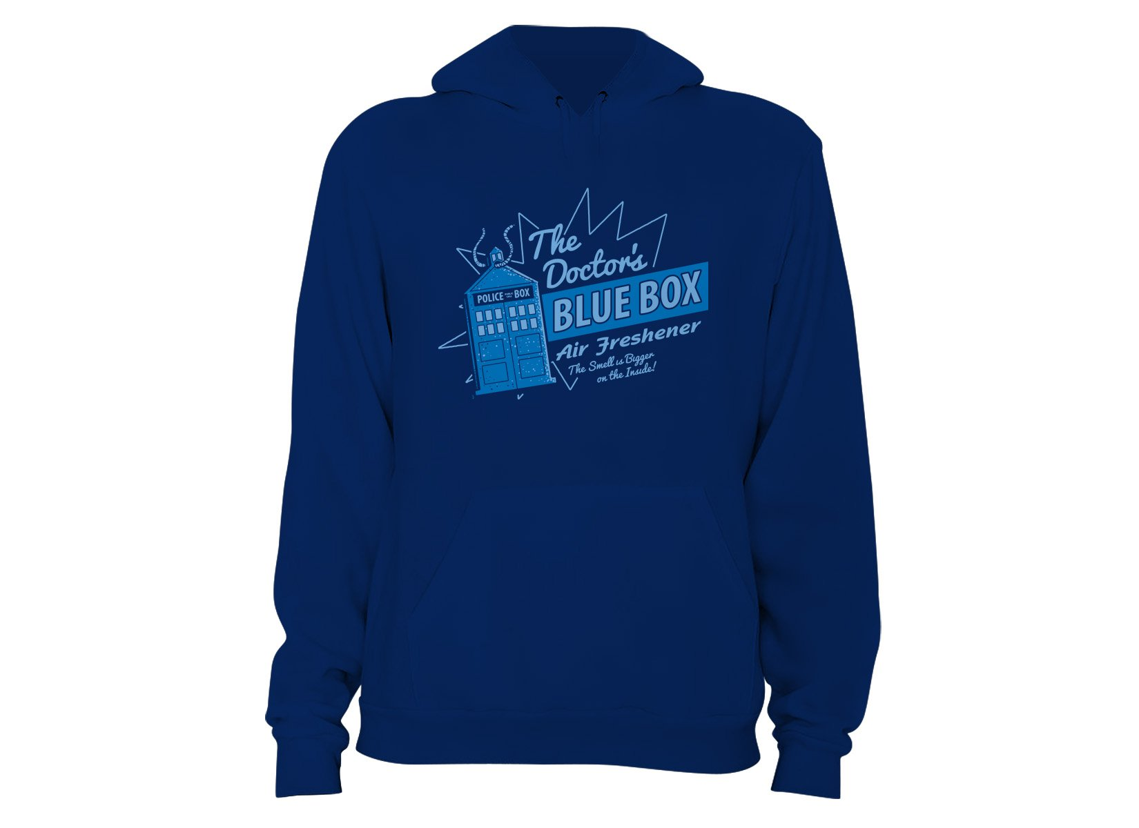 Blue Box Air Freshener on Hoodie