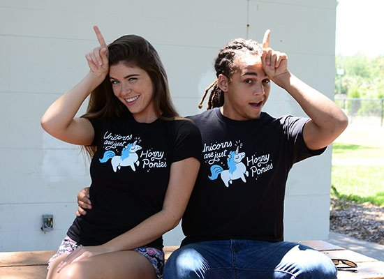 Unicorns Are Just Horny Ponies on Mens T-Shirt