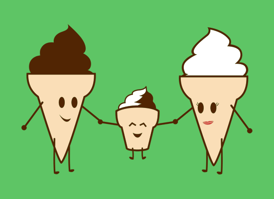 Ice Cream Family on Mens T-Shirt