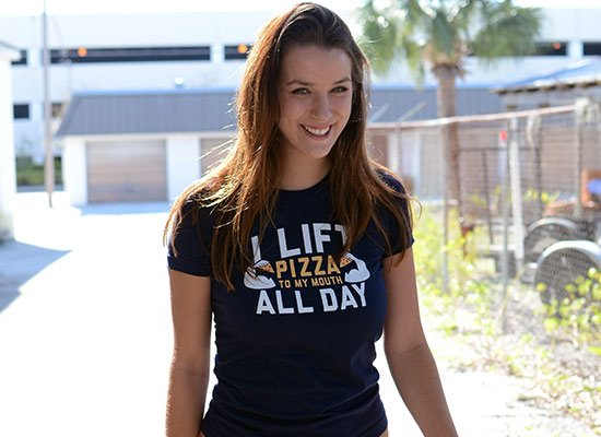 I Lift Pizza All Day on Juniors T-Shirt