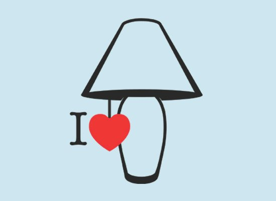 I Love Lamp on Mens T-Shirt
