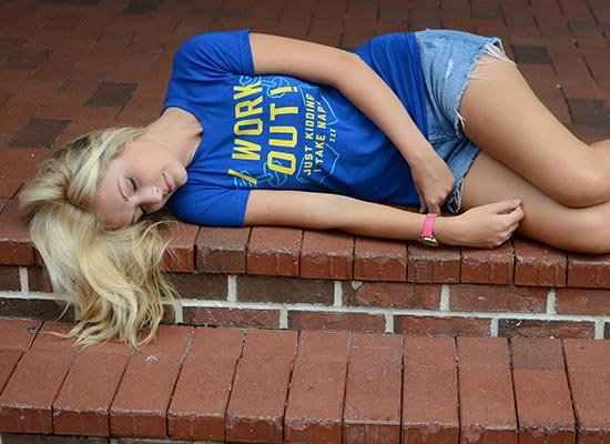 I Work Out! Just Kidding. I Take Naps. on Juniors T-Shirt