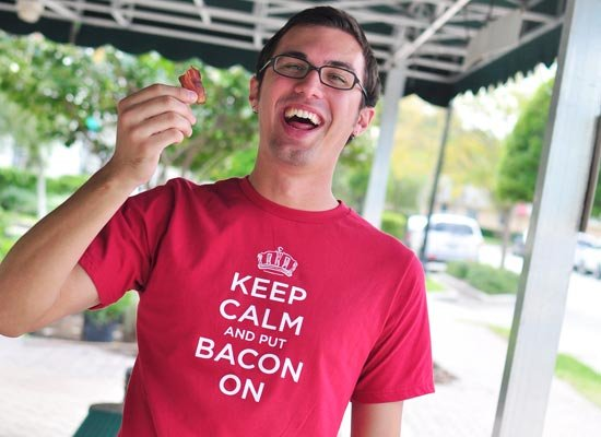 Keep Calm and Bacon On on Mens T-Shirt