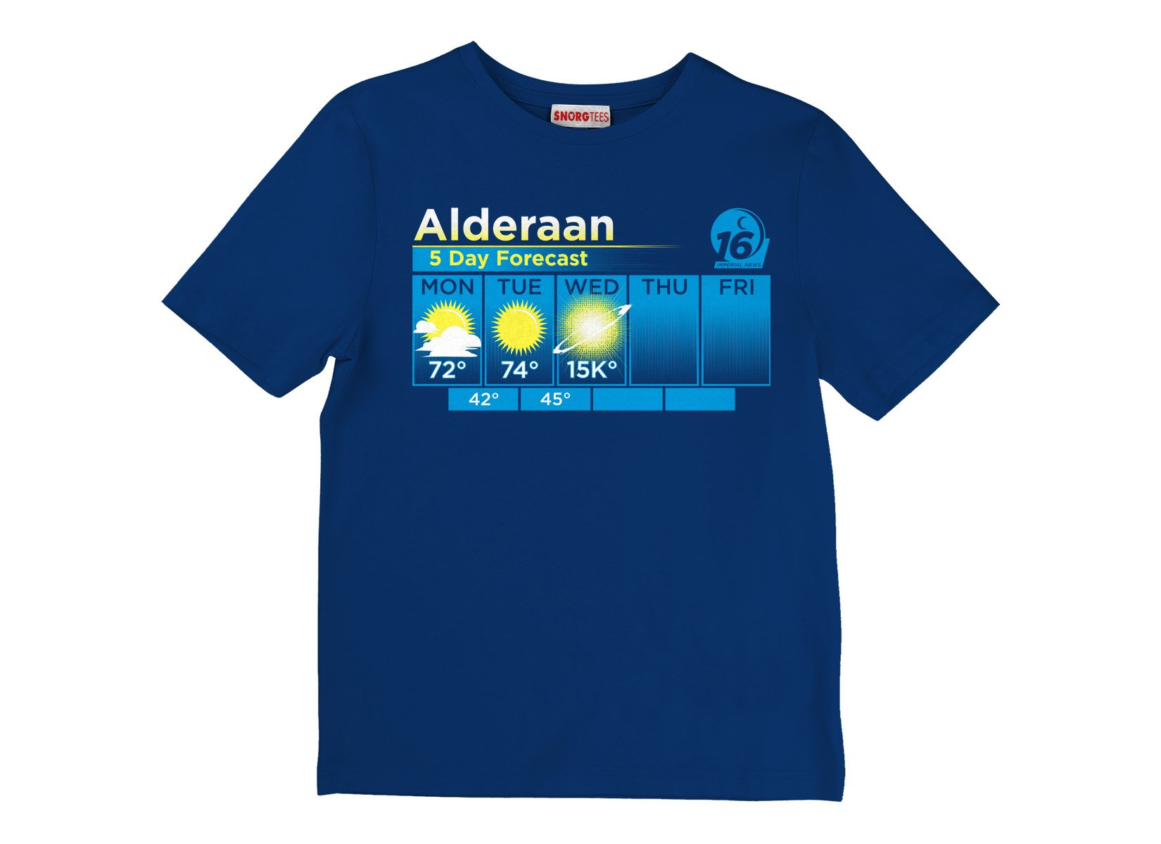 Alderaan 5 Day Forecast on Kids T-Shirt