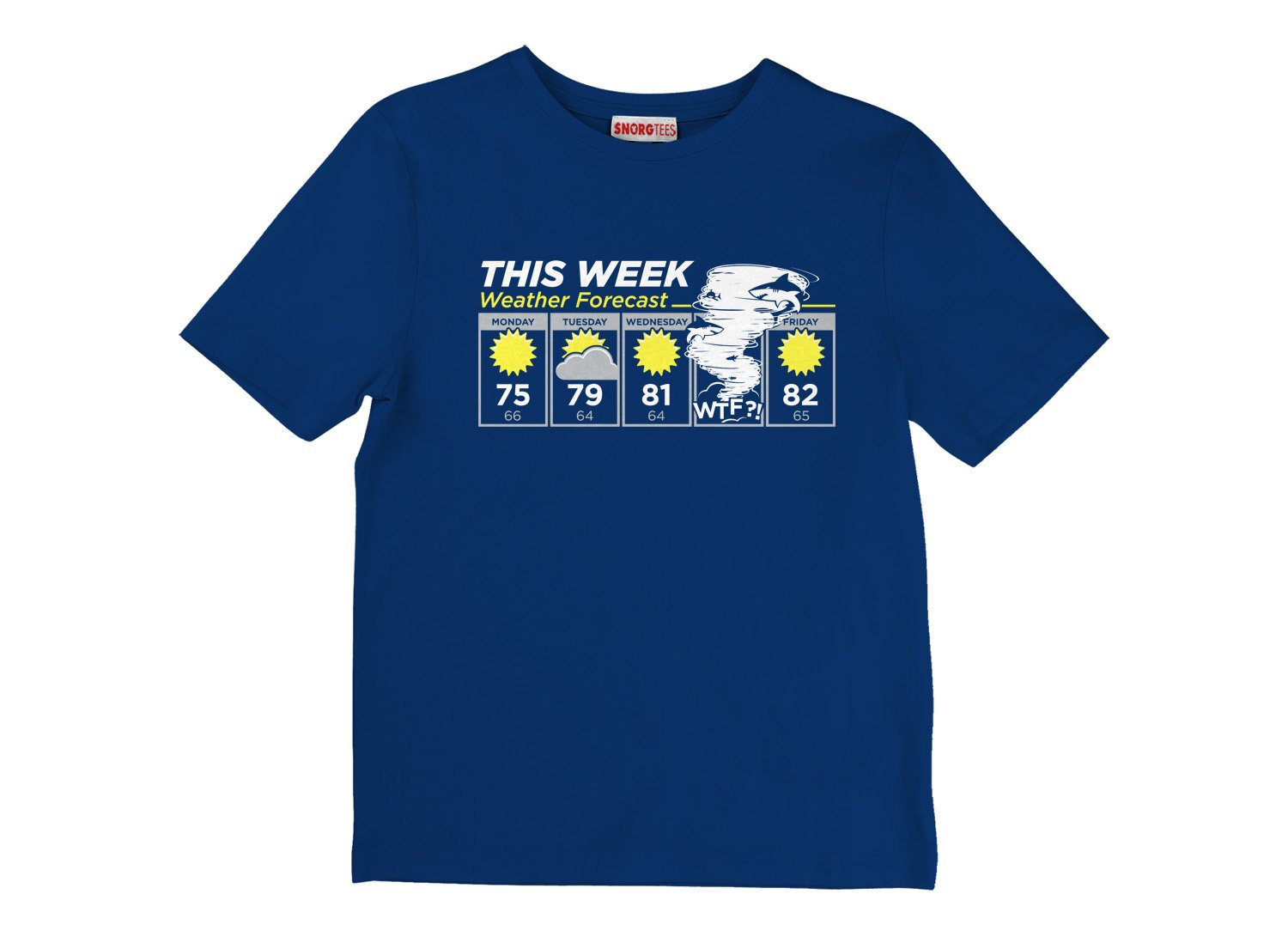 Shark Weather Forecast on Kids T-Shirt