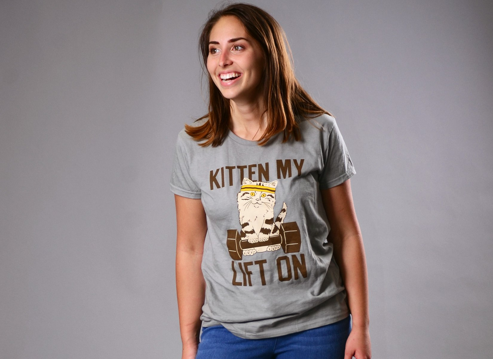 Kitten My Lift On on Womens T-Shirt