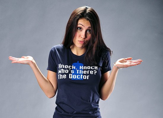 Knock Knock! Who's There? The Doctor on Juniors T-Shirt