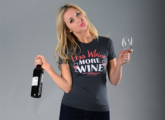 Less Whine More Wine on Juniors T-Shirt