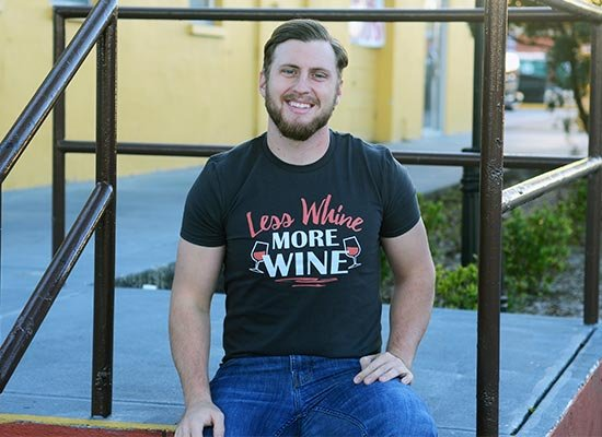 Less Whine More Wine on Mens T-Shirt