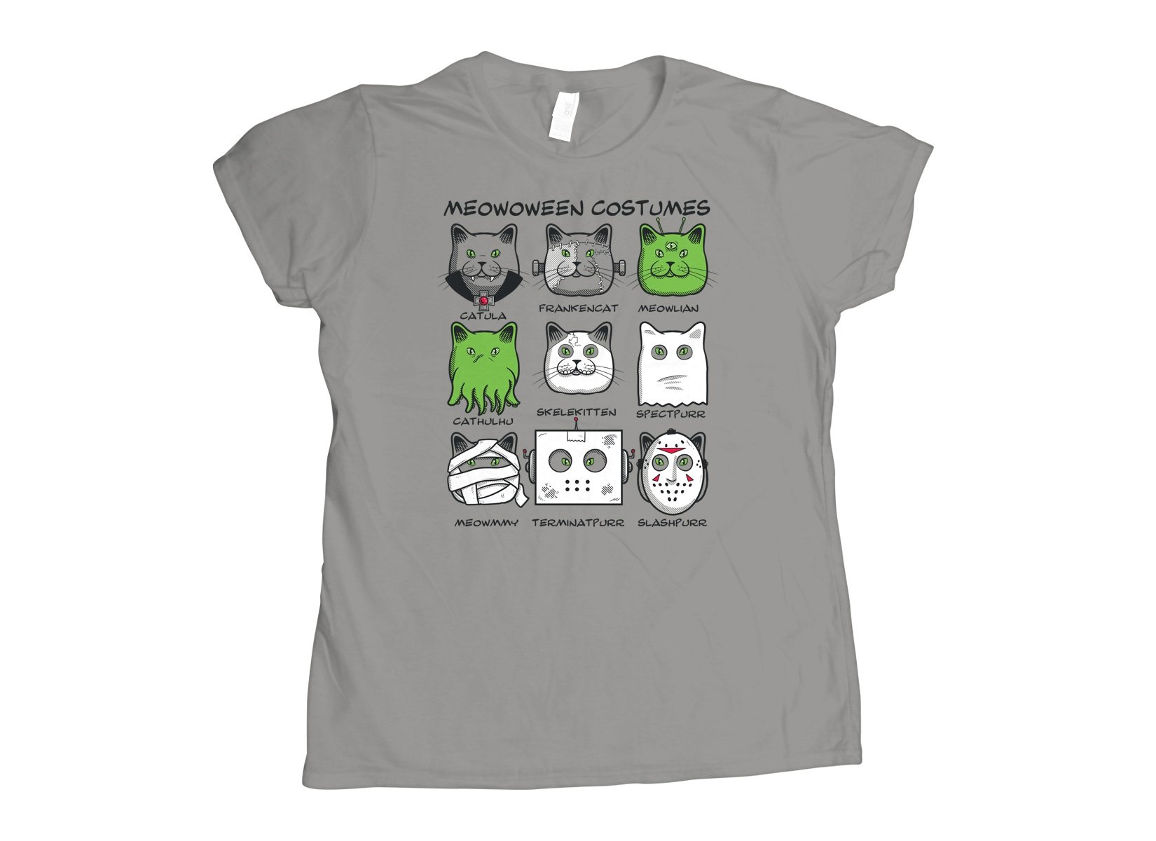 Meowoween Costumes on Womens T-Shirt