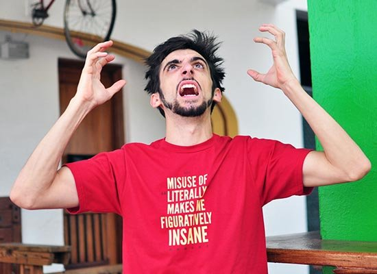 Misuse of Literally Makes Me Figuratively Insane on Mens T-Shirt