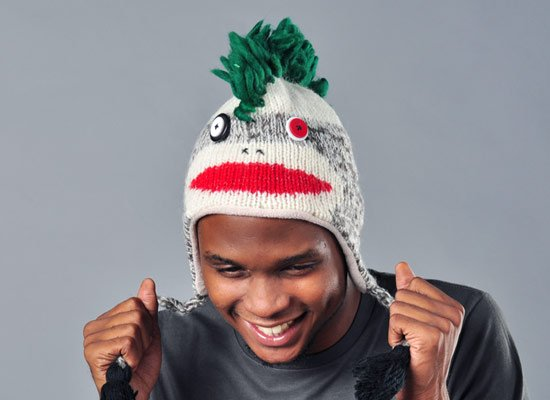 Mohawk Sock Monkey Hat on Mens Hats