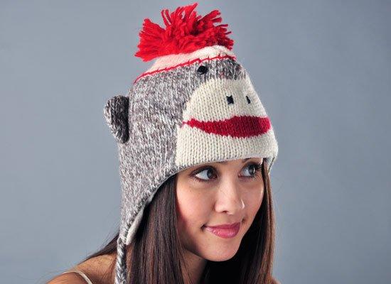 Cute Sock Monkey Hat on Mens Hats
