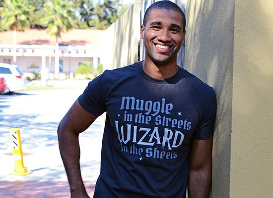 Muggle In The Streets, Wizard In The Sheets on Mens T-Shirt