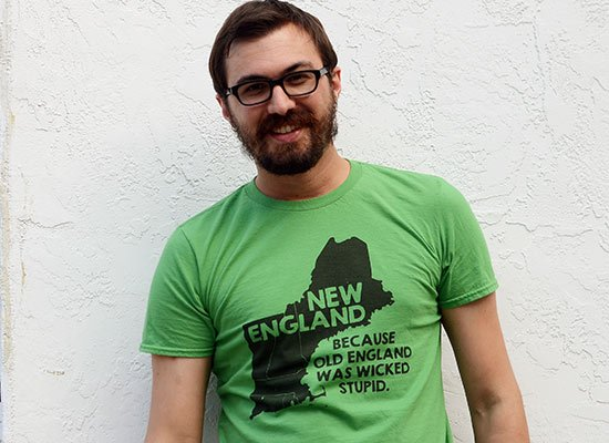 New England, Because Old England Was Wicked Stupid on Mens T-Shirt