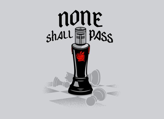 None Shall Pass Black Knight on Mens T-Shirt