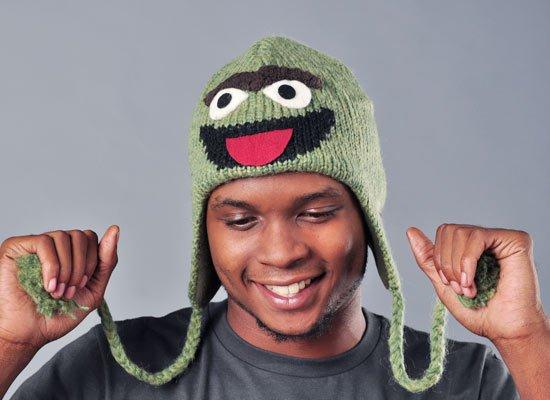 Oscar The Grouch Sesame Street Hat on Mens Hats