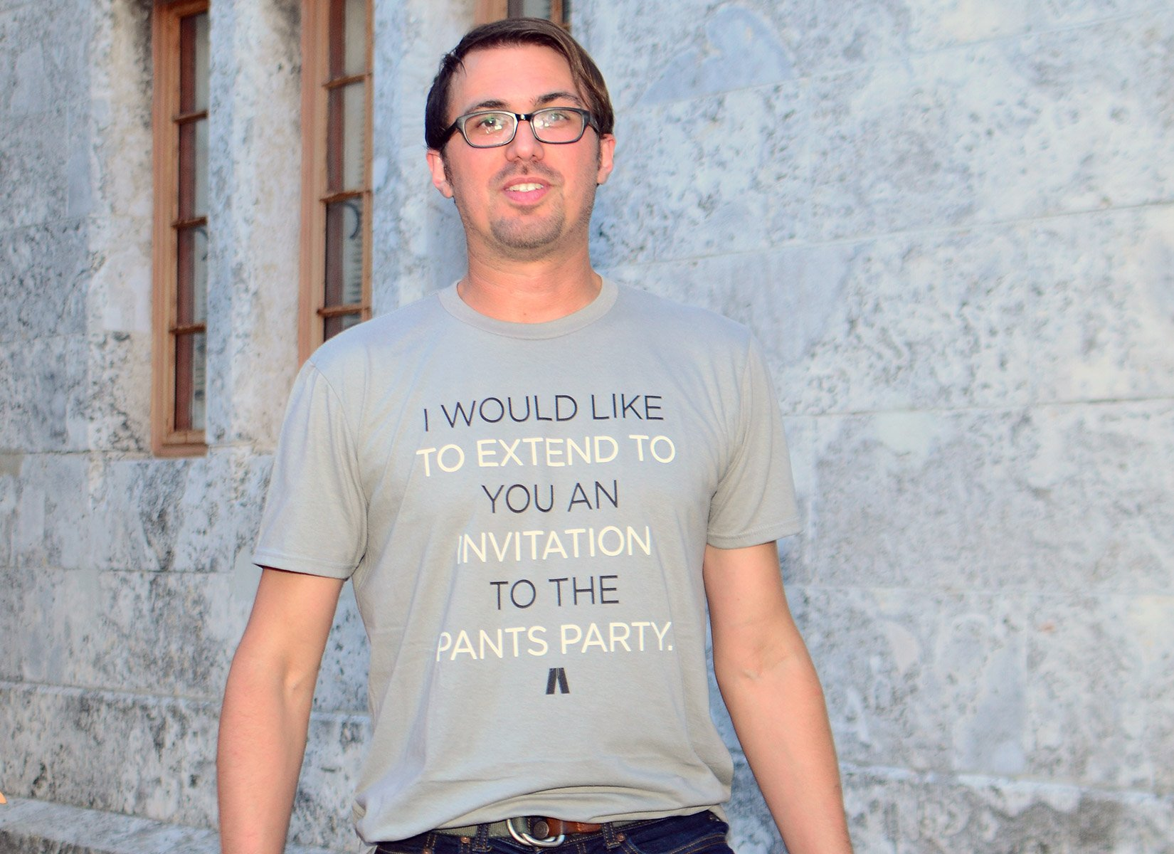 Invitation To The Pants Party on Mens T-Shirt
