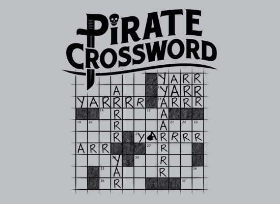 Pirate Crossword on Mens T-Shirt