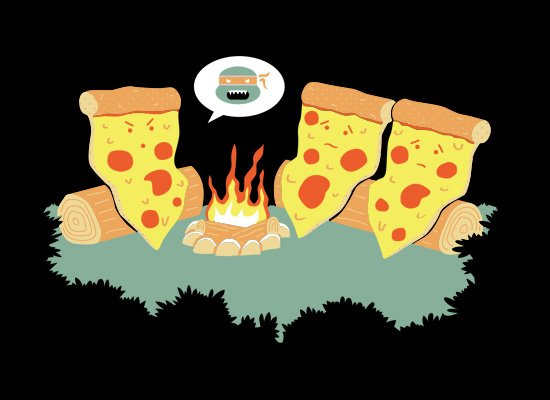 Pizza Campfire Story on Mens T-Shirt