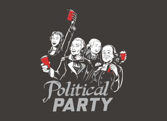 Political Party on Mens T-Shirt
