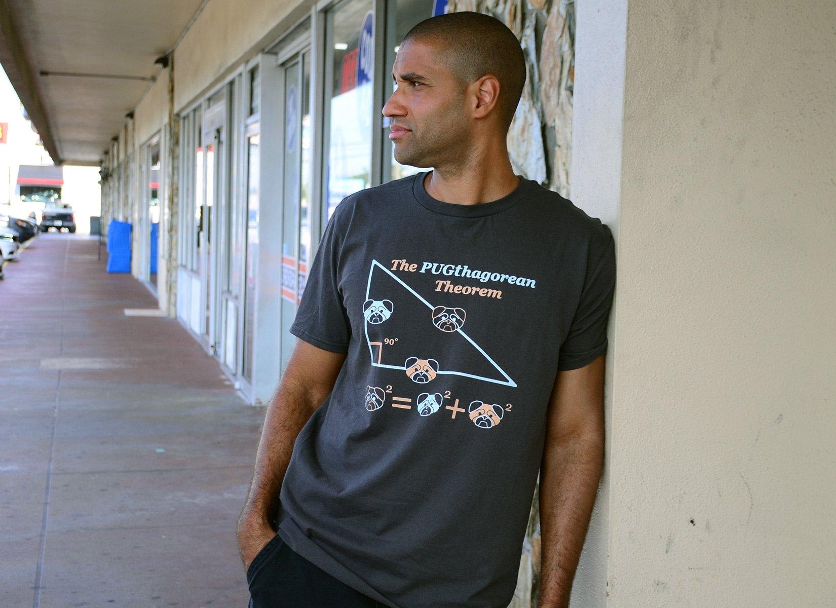 Pugthagorean Theorem on Mens T-Shirt