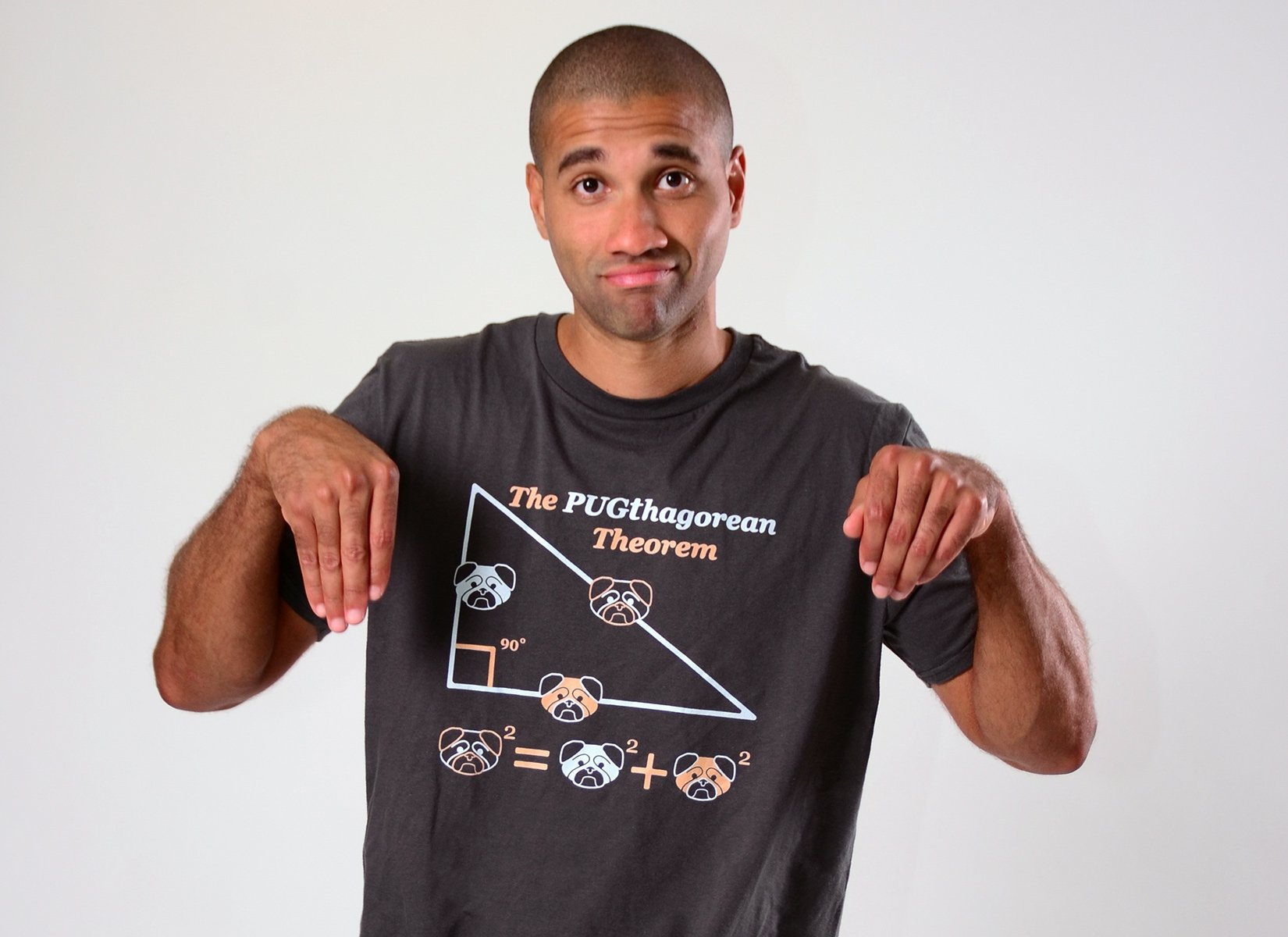 Pugthagorean Theorem on Mens T-Shirt