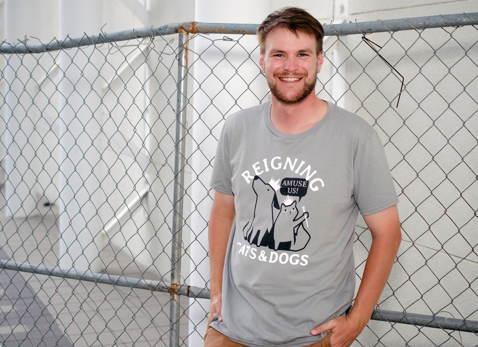 Reigning Cats And Dogs on Mens T-Shirt