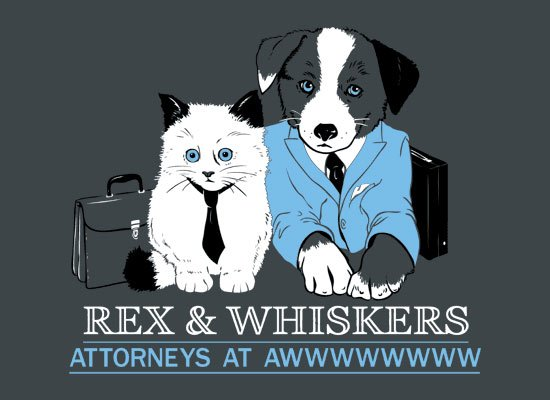 Rex and Whiskers Attorneys on Mens T-Shirt