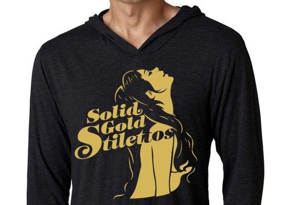 Solid Gold Stilettos on Hoodie