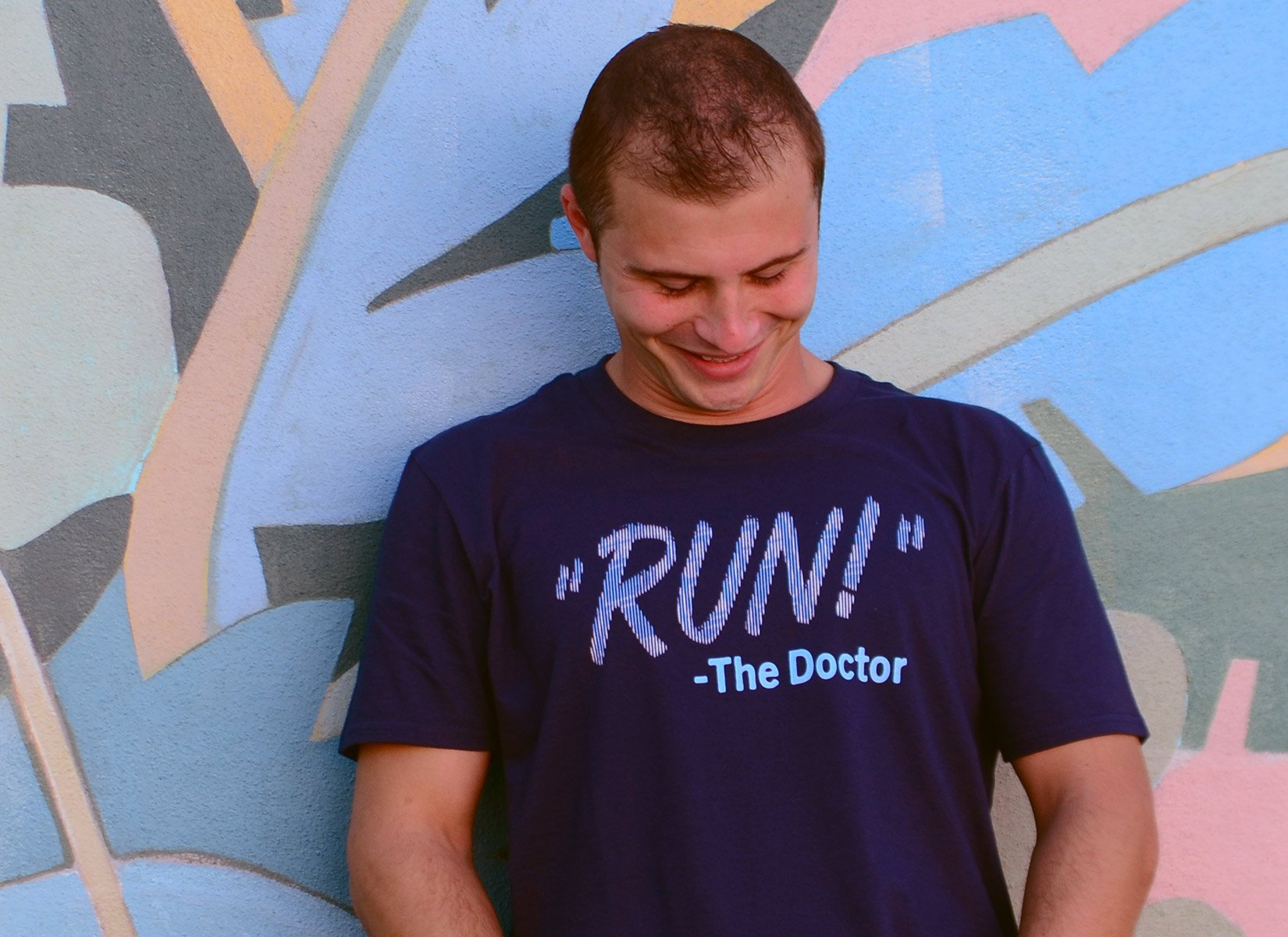 RUN! The Doctor on Mens T-Shirt