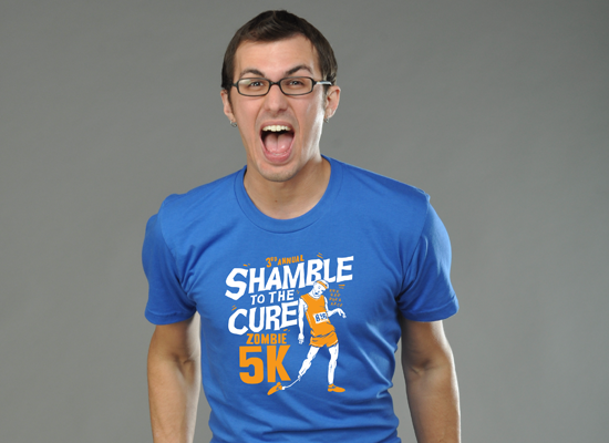 Shamble To The Cure Zombie 5K on Mens T-Shirt