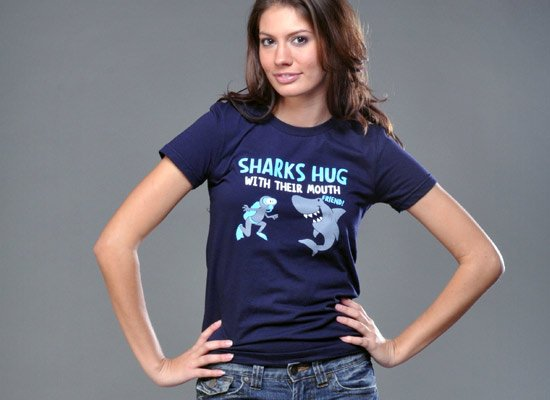 Sharks Hug With Their Mouths on Juniors T-Shirt