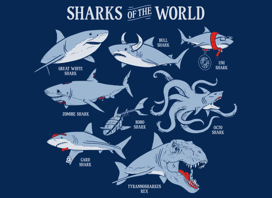 Sharks Of The World on Kids T-Shirt